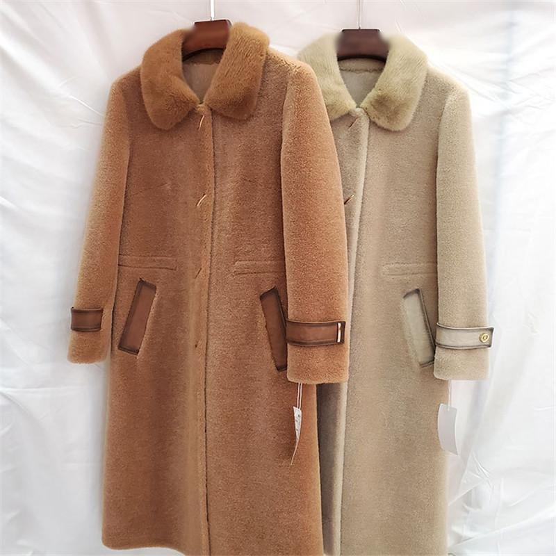 Manteau de la fourrure de haute qualité 2020 nouveau-vent de la peau de mouton d'hiver hiver manteau chaud manteau à mi-longue veste femme fourrure de fourrure