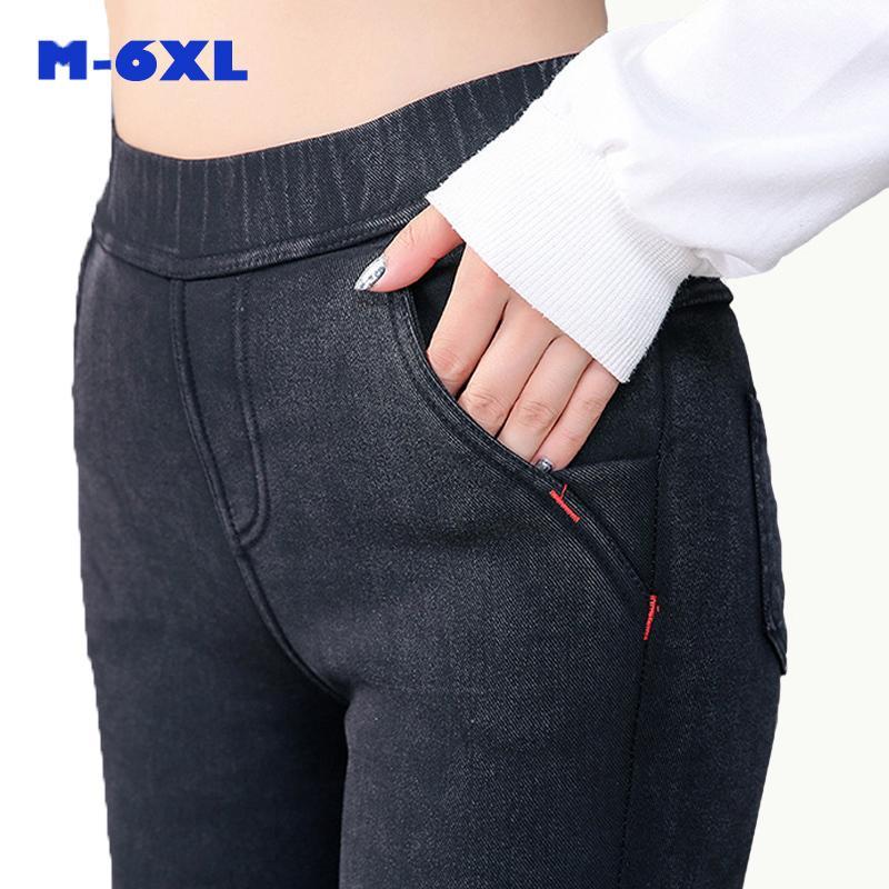 6XL manera de las mujeres ocasionales adelgazan Stretch Denim Jeggings lápiz de los pantalones vaqueros más gruesa polainas flacas Ropa para Mujer Q1119