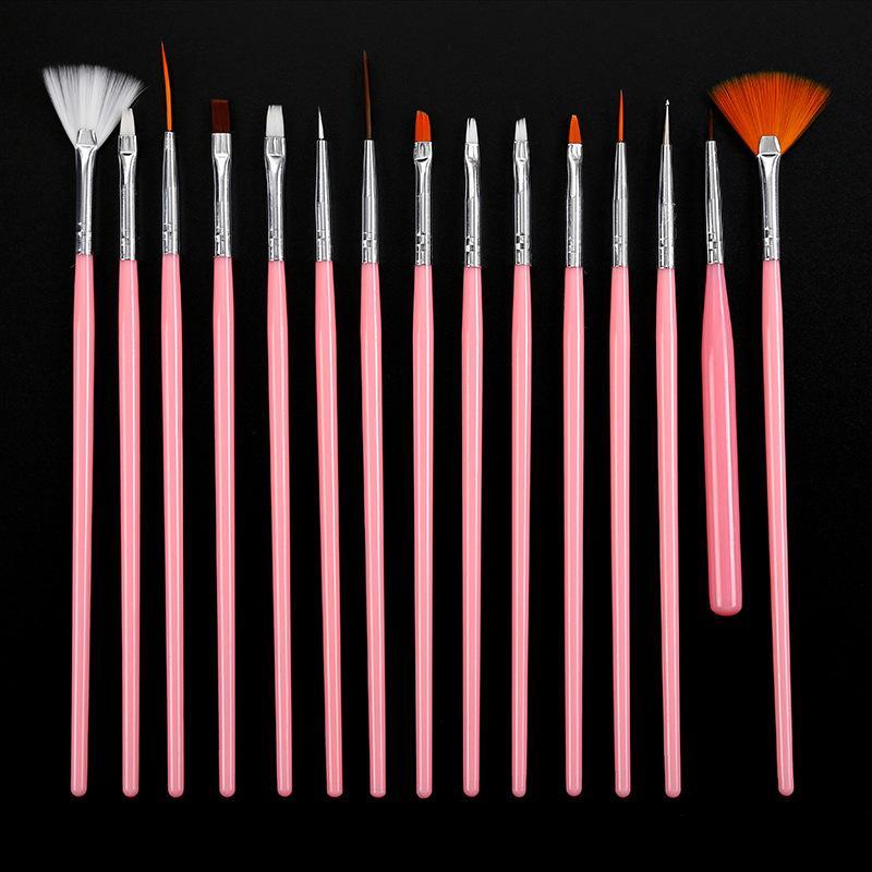 15 шт. / Установить кисти для ногтей набор гвозств для ногтей для профессионалов набор акриловые рожденные красивые кисти для ногтей очистить художественные инструменты 2021