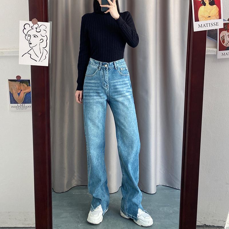 Printemps 2021 Nouvelle taille haute Slim High Split Split Drivel Jeans lâche