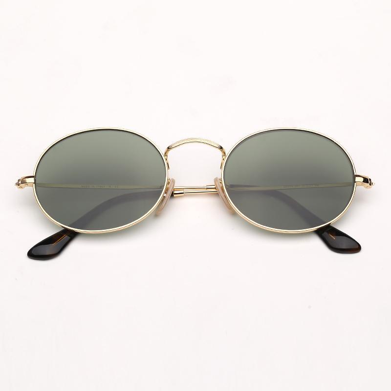 Gafas de sol para mujer Cuero Hombre Oval Sun Protección de moda UV400 con lentes Gafas y Caso redondo EFSSI