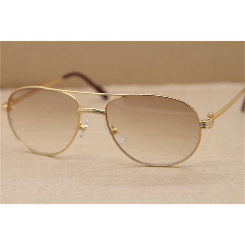 Moda hombre gafas de sol para mujer gafas de metal completo al aire libre marco de conducción oval c decoración oro glasse
