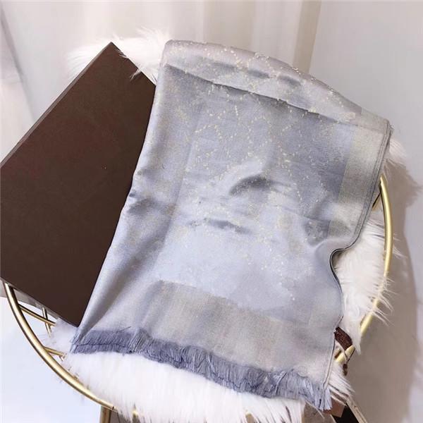 Venta al por mayor 2021 letra clásica seda y lana moda bufanda decorativos decorativos 180 * 70 cm estilo europeo sin caja