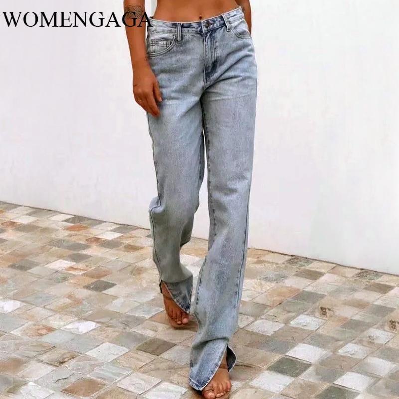 Jeans mujeres womengaga mujeres europeas 2021 otoño / invierno moda alta cintura delgada y suelto recto de mezclilla pantalones divididos k17q1