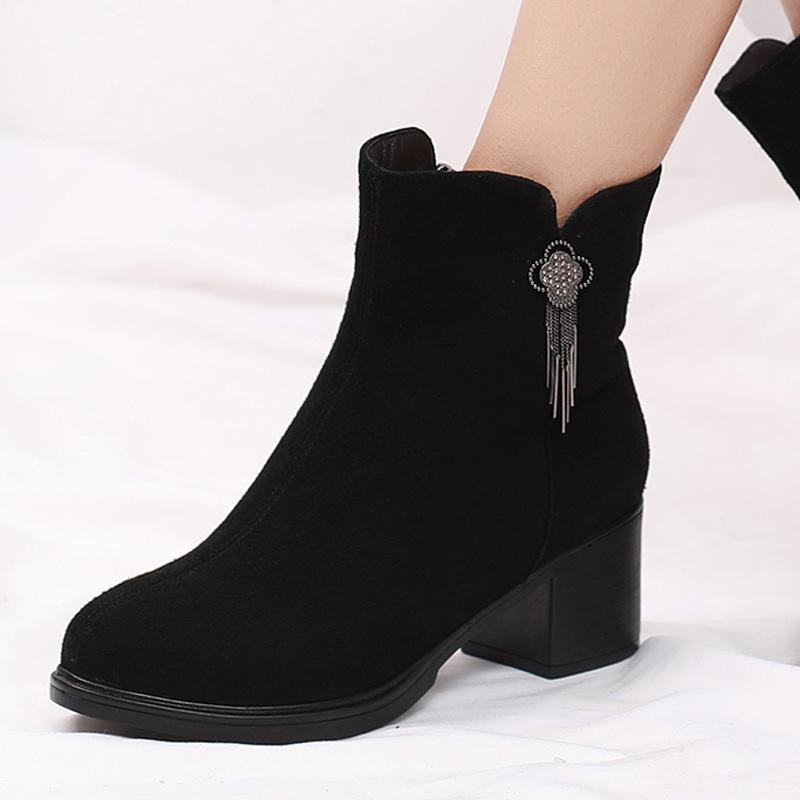 Matte couro borla moda botas mulheres sapatos outono botas grossas com salto alto sapatos de inverno quente mulheres