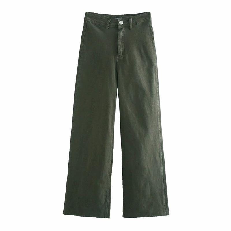 Agong Green Gambe Gamba Jeans Donne Fashion High Vita Tasche Denim Pantaloni Donne Donne Elegante Jeans Allentato Figura intera Jeans femminili signore JW