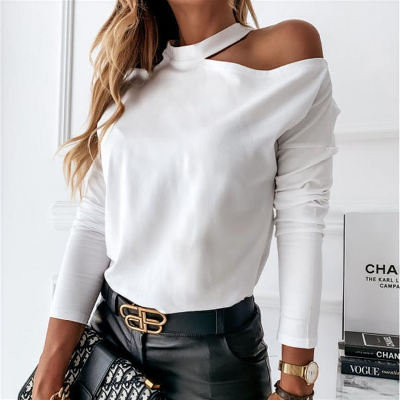 겨울 블라우스 여성 긴 소매 어깨 탑 캐주얼 흰색 셔츠 단색 컬러 느슨한 고삐 패션 여자 블라우스