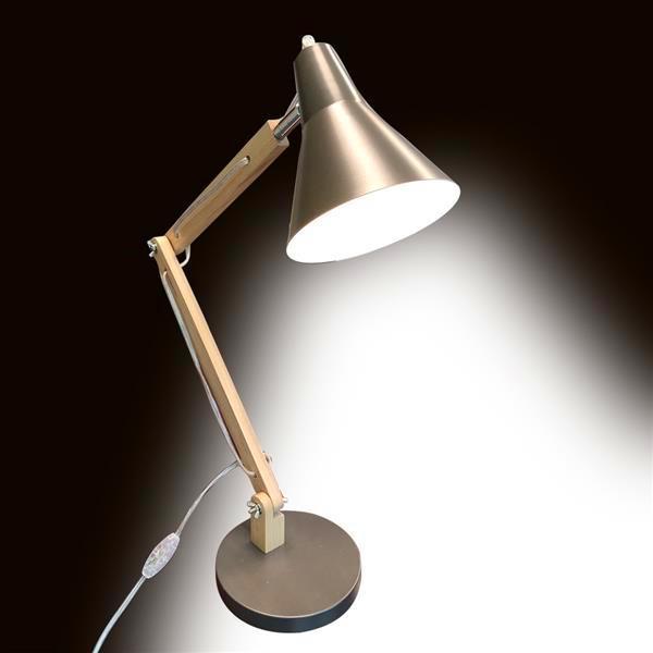 Lampada da tavolo in metallo smerigliato Mini Fashion Classhade classico e texture in legno Texture Lampada da tavolo Studio con sorgente luminosa US Plug