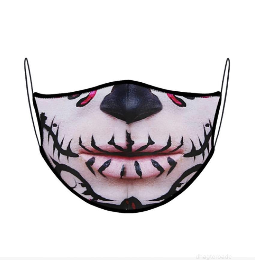 Cara adulta niños impreso al aire libre moda protector boca máscara de diseñador para niños flor de cráneo leopardo diseño animal hh9-3206
