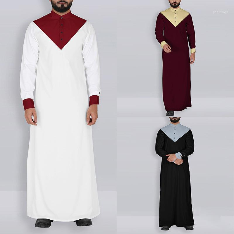 Kaftan Uomini Abbigliamento musulmano Jubba Thobe Abaya Robe Dubai Arabia Saudita Abiti Arabia Saudita ISLAMIC tradizionale Ramadan Manica lunga T Shirt1
