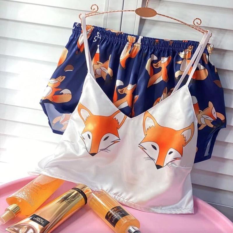 Pigiama di volpe per donna seta sexy pijamas donne sleepwear satinato estate pigiama kigurumi unicorno femme v scollo a casa dropshipping fnlcf