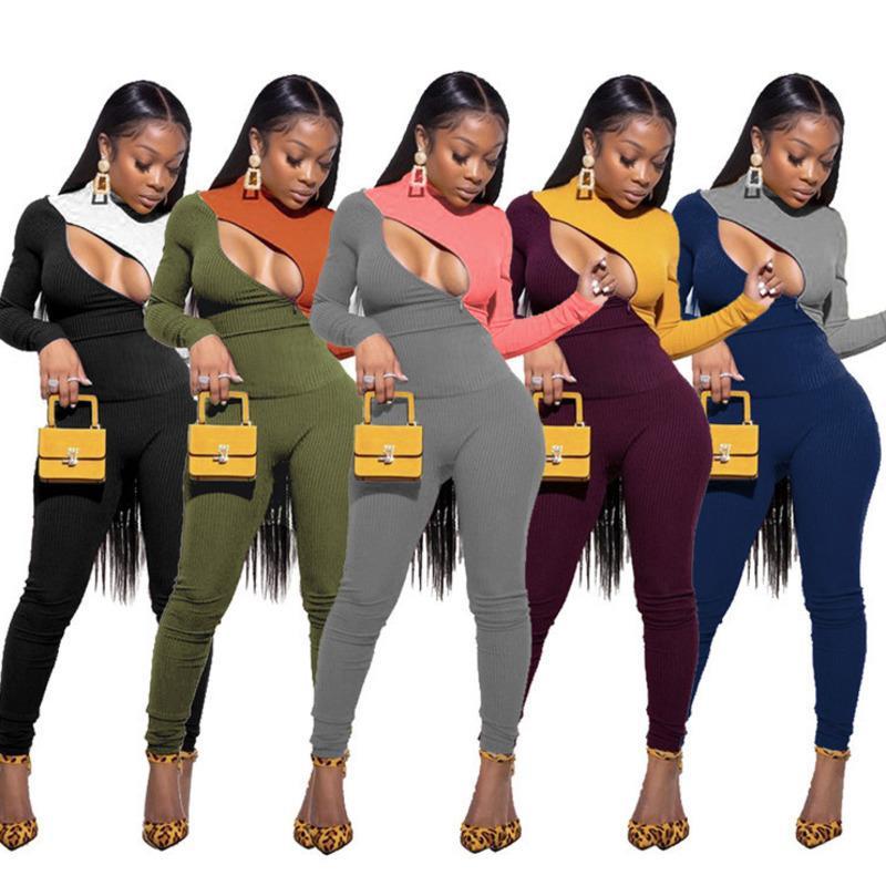Designer Femmes Tracksuits 2 pièces Ensemble Slim Contraste Couture Couture à glissière à manches longues à manches longues Pantalon Fall Hiver Casual Sportwear