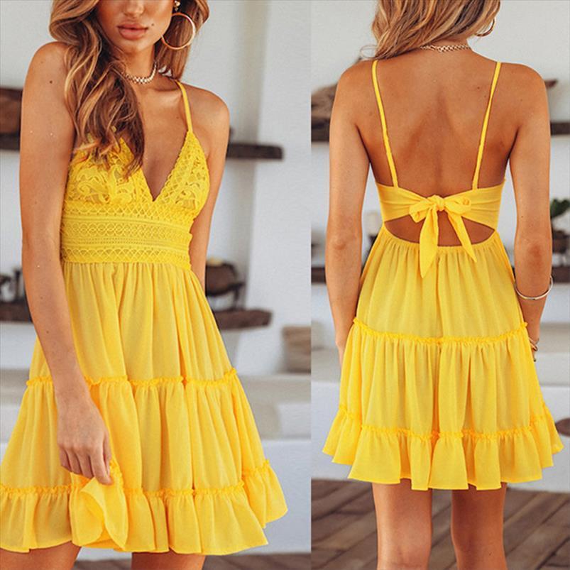 Summer Women Beach Dress Spaghetti Strap Dresses Women Deep V Neck Solid Color Back Bowknot Beach Sundress