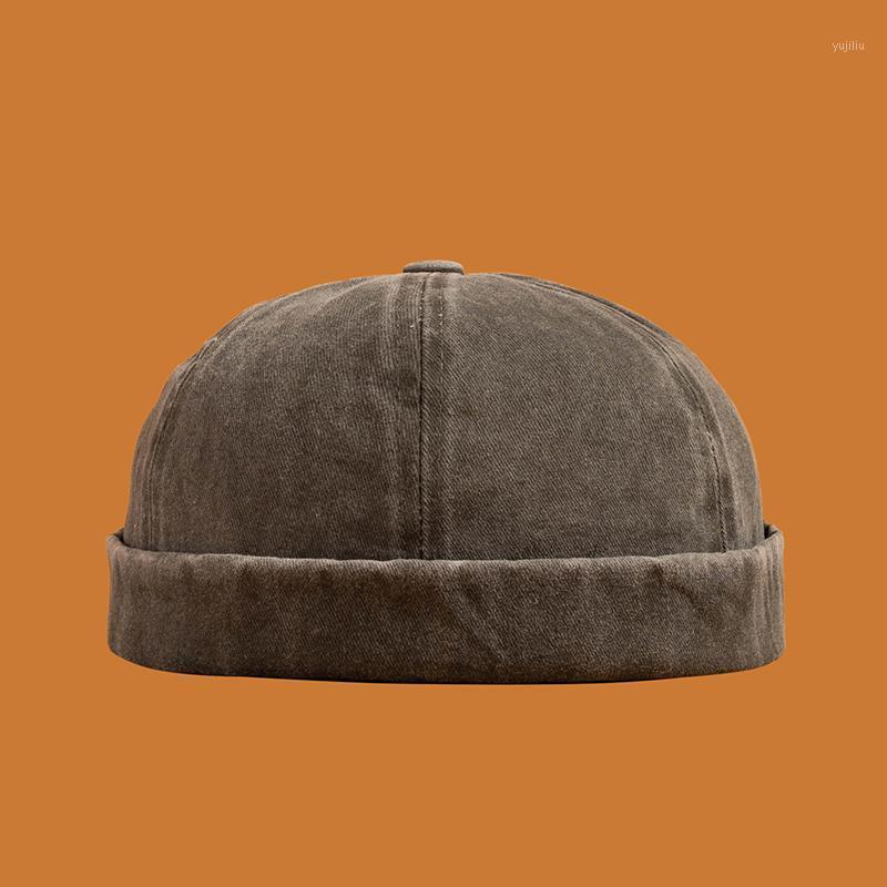 Beanies erkekler kadınlar skullcap denizci kap yıkanmış denim katı renk haddelenmiş manşet kova damarsız şapka ayarlanabilir pamuk şapka1