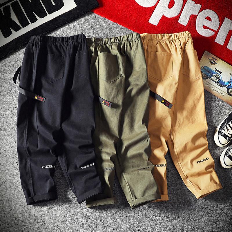B Sports Hip-Hop Pantalones Hombres Suelta Sección delgada Ins Ins Pure Color Hip-Hop Fashion Casual Aire Libre Salvaje Simple Restricción Monos