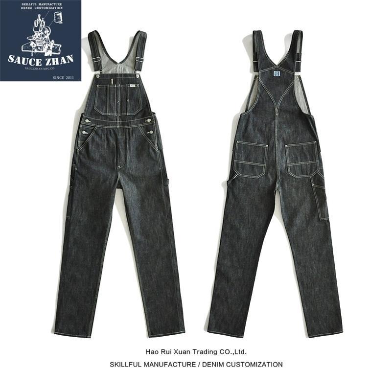 SaucaZhan BD01 BIB Vintage Yırtık Selvedge Ham Denim Tulum Askı Erkekler Mavi Jeans 201111