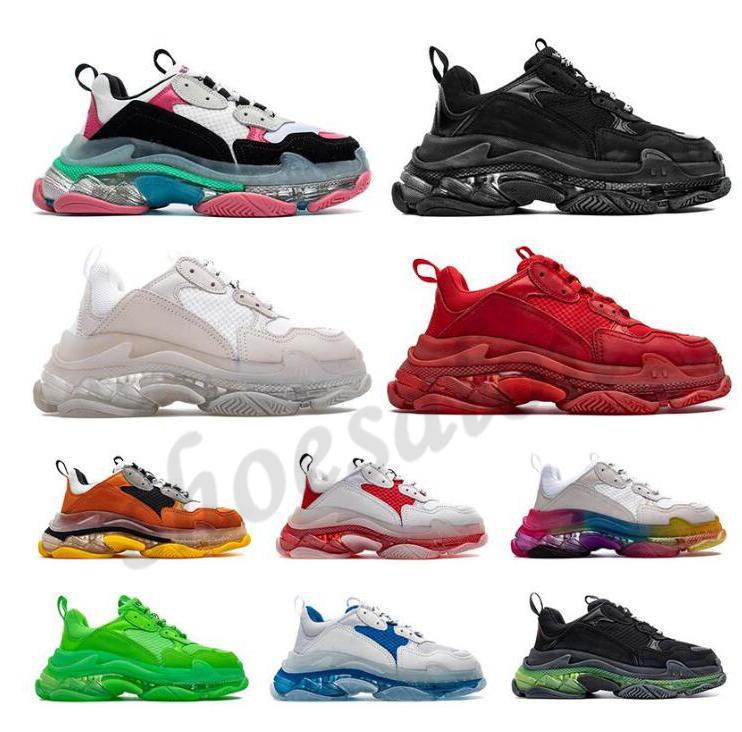 balenciaga balenciaca balanciaga Designer Triple S  Shoes Clear Bubble Midsole Men 2021 Triple-S Sneakers Increasing Leather Dad  hommes femme  femmes baskets  chaussures