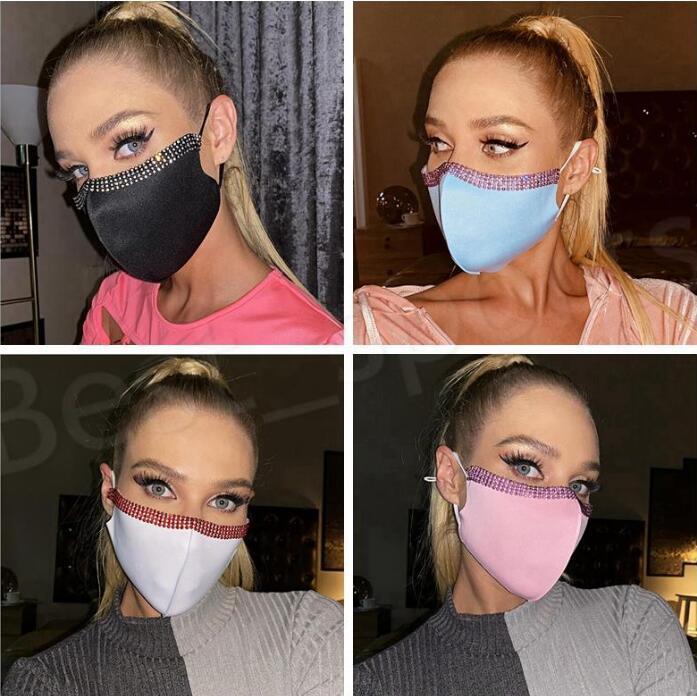 Masques Bling Bling Strinestone Face Masque Femme Couverture de cristal Masques Mode Réutilisable Face Couverture Bouche Adulte NightClub Designer Masque LSK2125