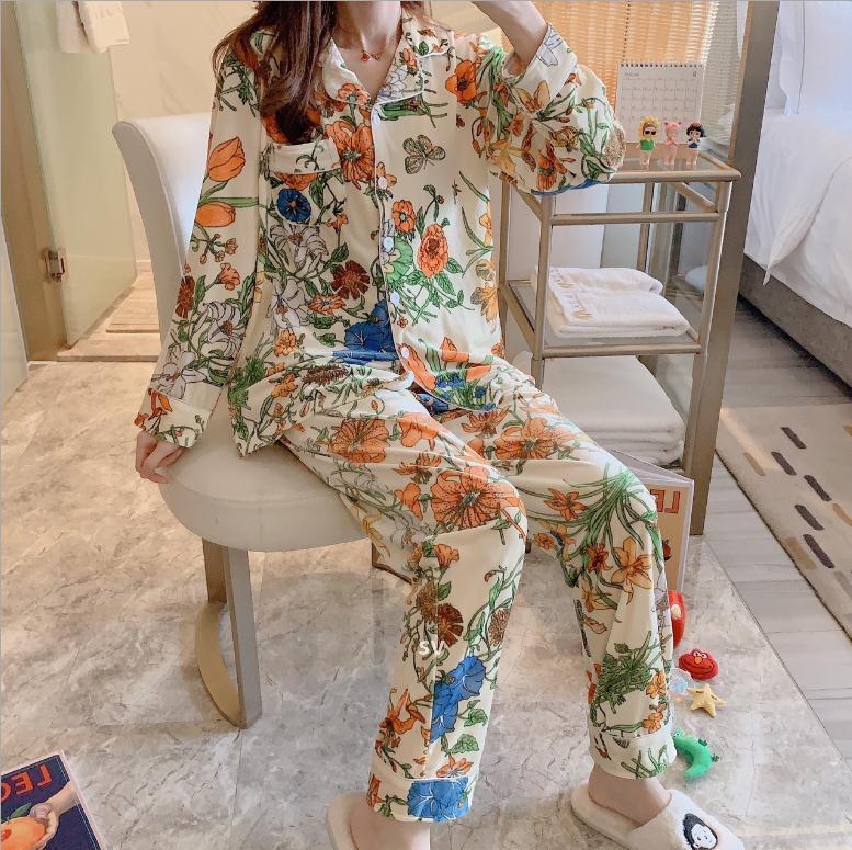 Nuovo Arrivo Ladies Due-Pedi Lettera Style Style Allentato Pigiama Pigiama Pigiama lunga Pigiama della casa Set Spedizione gratuita L