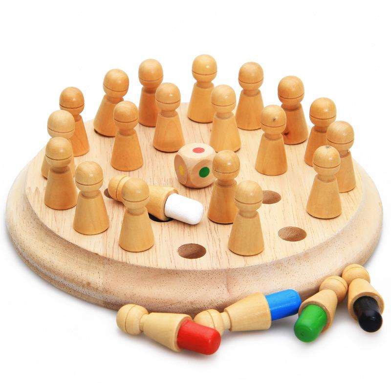 Kids Wooden Memory Match Stick Chess Game Fun Block Board Game Educational Color Cognitive Ability Toy Children Gifts