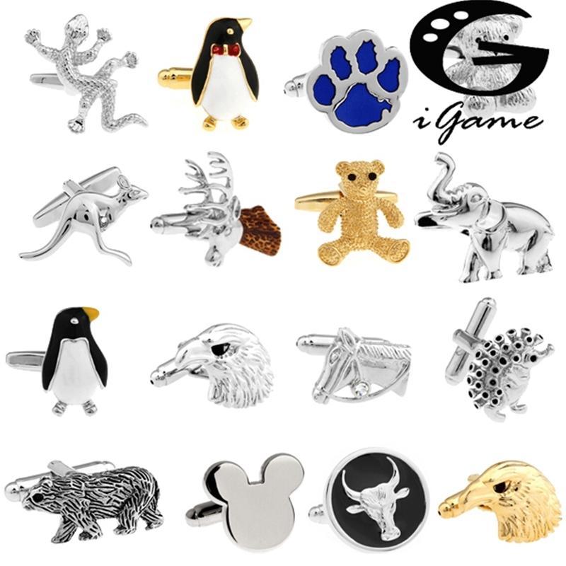Livraison Gratuite Manchettes de manchettes Design Horse Design Animal Bear Elephant Pingouin Kangaroo Eagle Hommes Boutons de manchette Whoelsaleretail