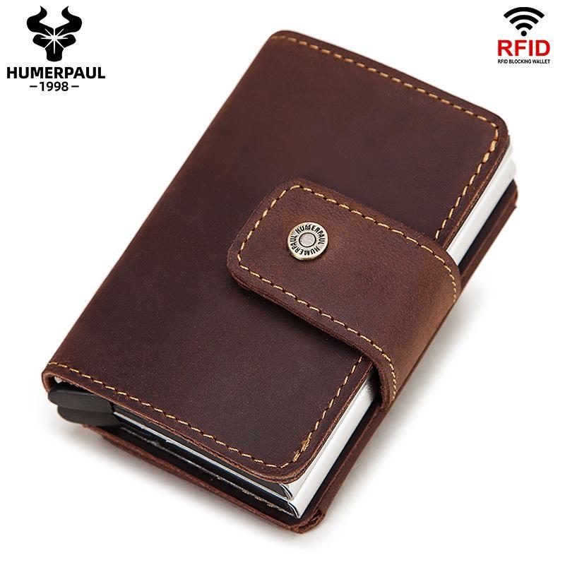 2020 Aluminium Kreditkartenhalter Anti Rfid Herren Doppelkarteninhaber Hülle Mode Kurze männliche Münze Geldbörse RFID Blockierkarten Brieftasche