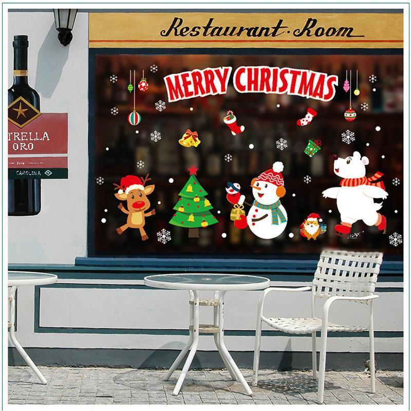 1pcs 45 * 60cm 2020 Nouvel An Santa Claus Train Train Verre Fenêtre Christmas Noël Décorations de Noël pour Autocollants muraux décoratifs à la maison
