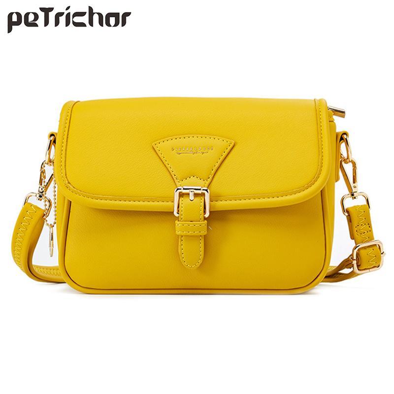 Brand Solid Leather Shoulder Crossbody for Luxury Purses Tote Handbags Women Bags Designer Famale Messenger Bag Q1118