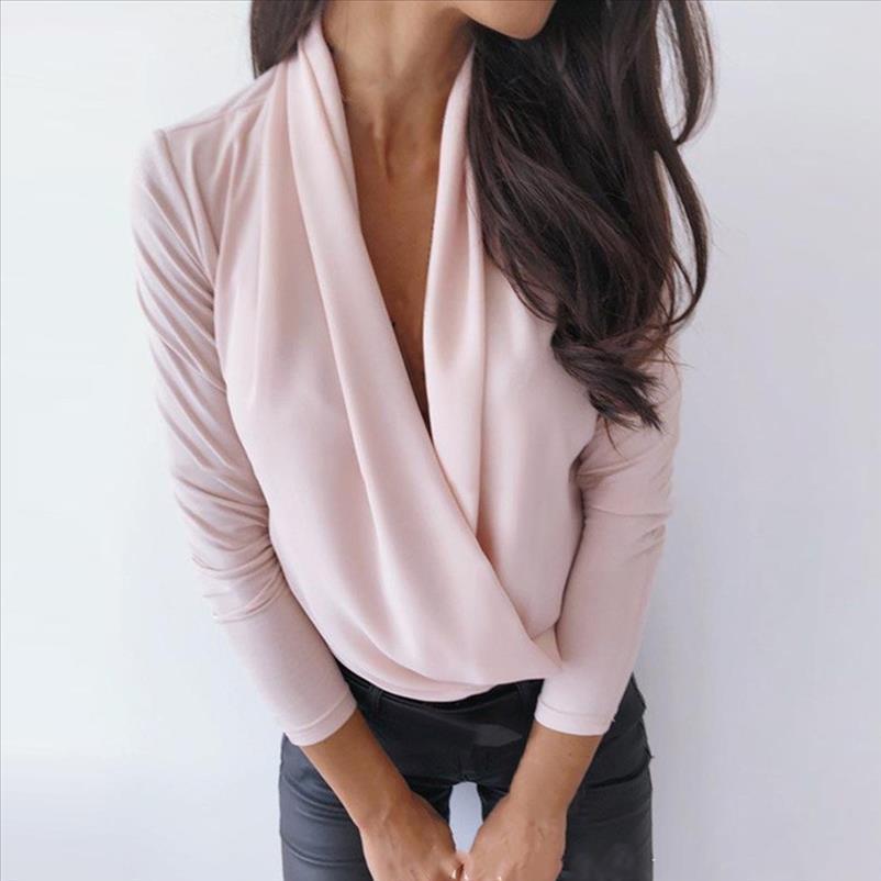 Outono Mulheres blusa sexy profundo pescoço camisa sólida tops manga longa frouxo chiffon blusas moda escritório front feminina senhoras camisas