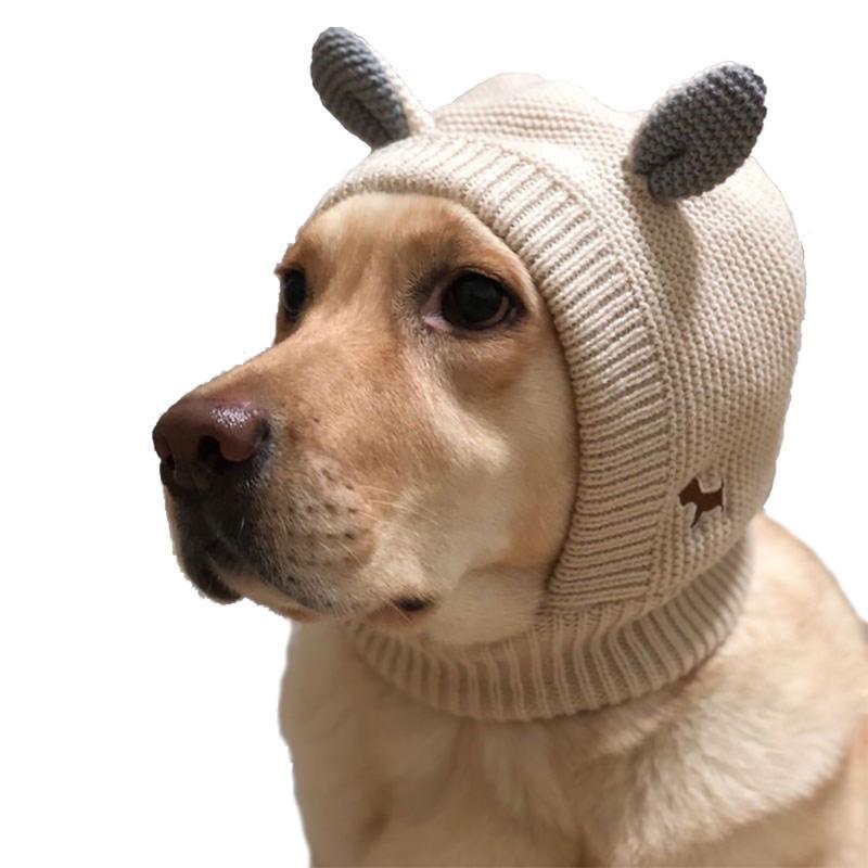 Зимняя собака вязаный головной убор с 3D-ушами Шляпа вязаная теплая ветрозащитная домашняя одежда