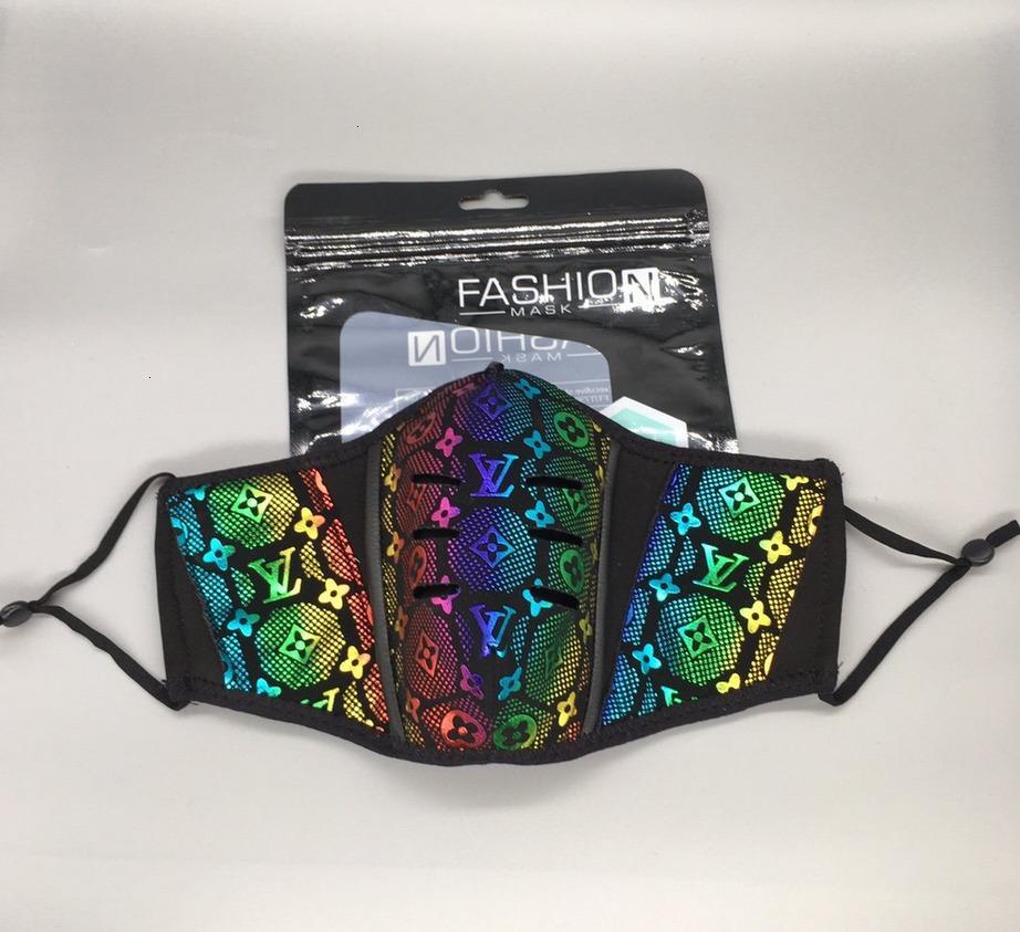 Louiis com caixa Novo Designer Face Mask Covers Pu Couro Homens Mulheres Dustproof Face Mask Máscara de Buttola Lavável Máscara de Proteção A1