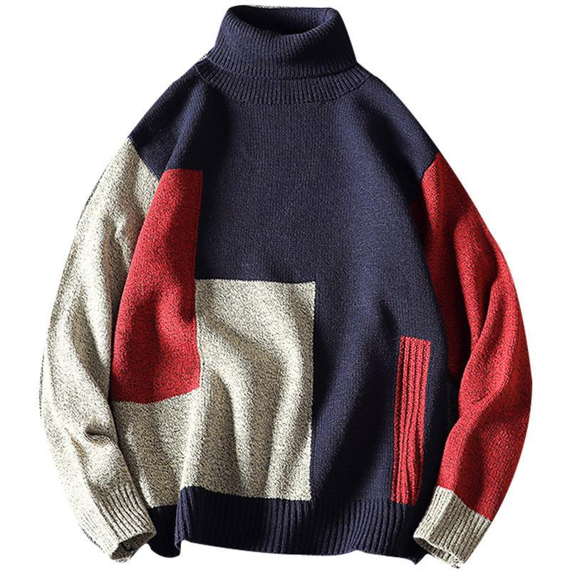Модная мужская зимняя водолазка хлопчатобумажная пуловер теплый пэчворк мягкий с длинным рукавом одежда вязаные повседневные мужские свитера плюс размер