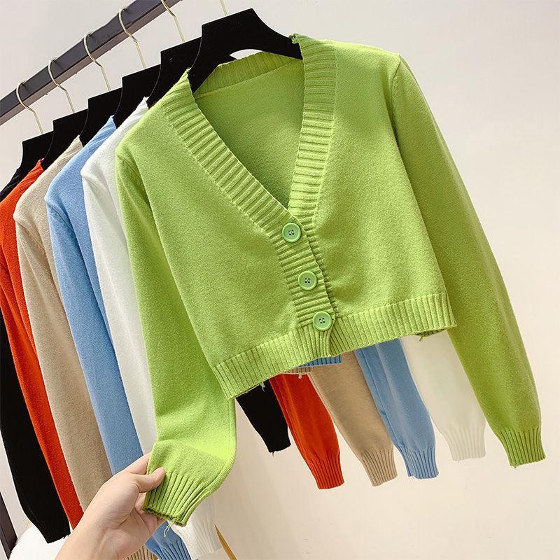 Vintage Langarm Cropped Cardigan Koreanischer Knopf Gestrickte Pullover 2020 Herbst Casual Solid V-Neck Slim Outwear Tops