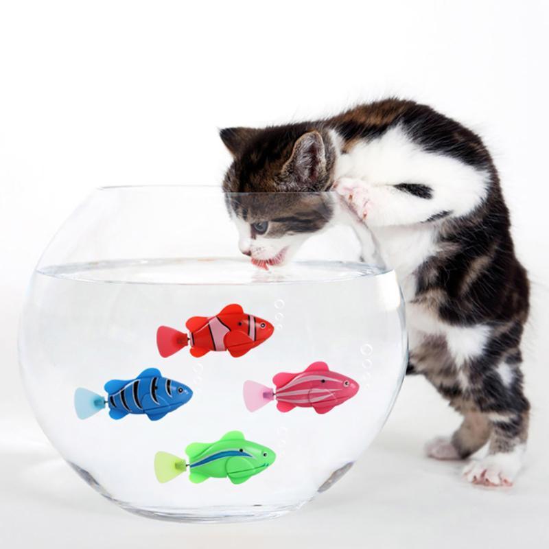 1 шт. Аккумуляторные аккумуляторы Fish Cat Игрушка Вода активирована Светодиодная Плавательная Рыба Игрушка Кошка Игрушки с Водной отверткой Для Кошек