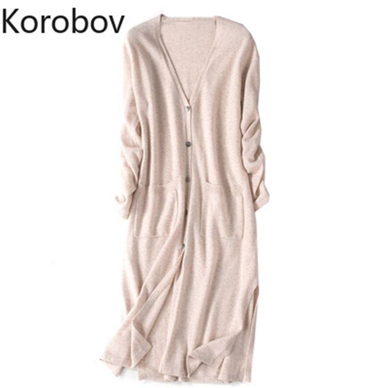 Korobov coreano único breasted camisola longa mulheres verão manga longa malha cardigan bolsos tamanho grande muster mujer 78413 201030