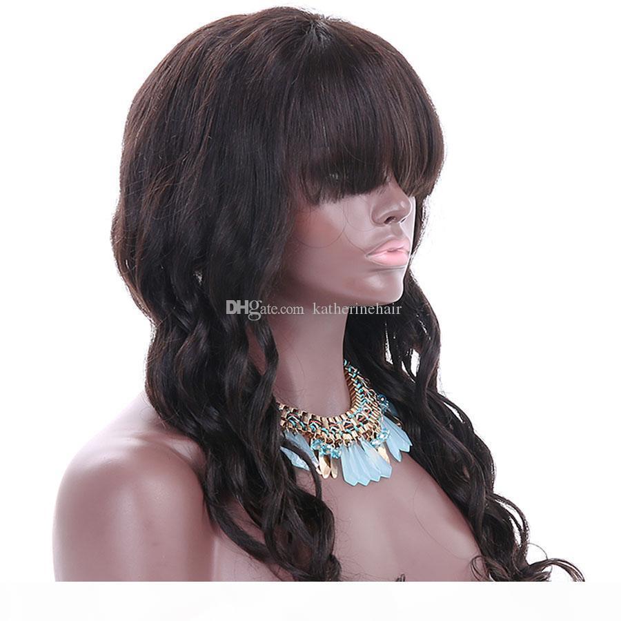 Perruques avant de la dentelle de la dentelle pour femmes noires Brésilien Body Wave Real Human Hair Perruques pleines dentelle avec frange