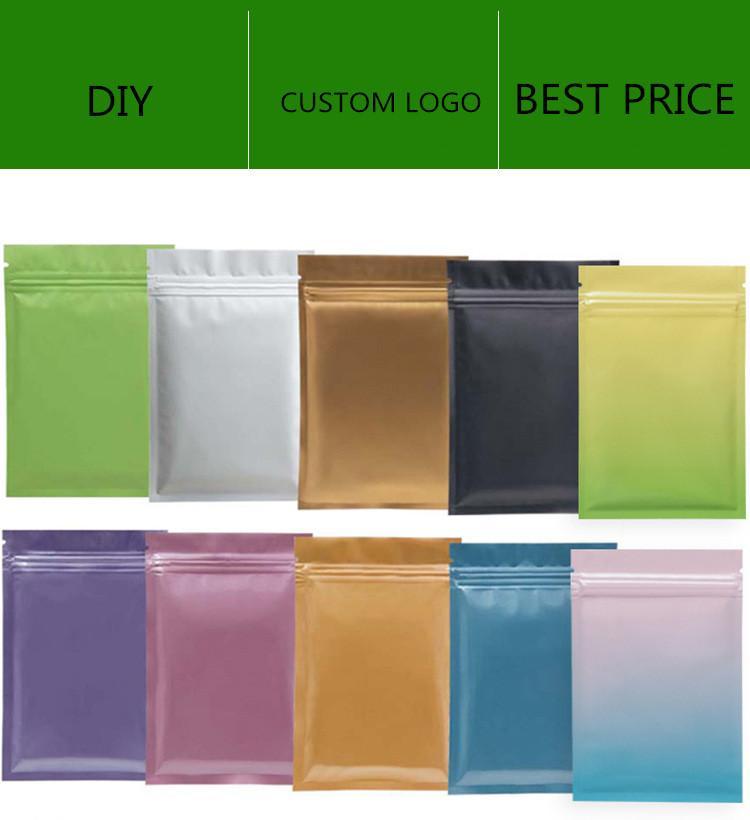 Matt Color Reazeableanable Zip Mylar мешок для хранения продуктов питания алюминиевые сумки из фольги пластиковый запах достойный мешок в наличии