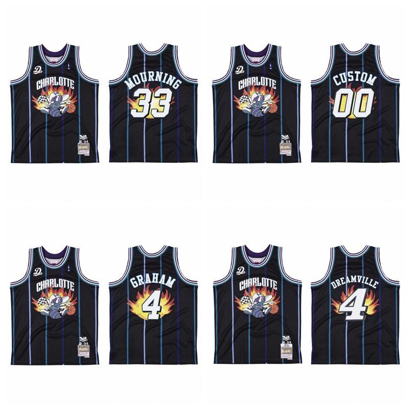 """S-6XL Men 4 Dreamville X Charlotte """"Hornets"""" Jersey # 00 BR Remix Black Basketball Jersey"""