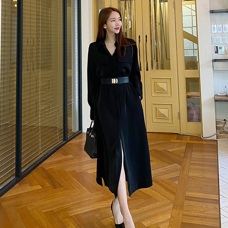Elegant Lady Dress Black Maxi Loose Casual Holiday Fashion Chic Women Daily Shirt Dresses 7642