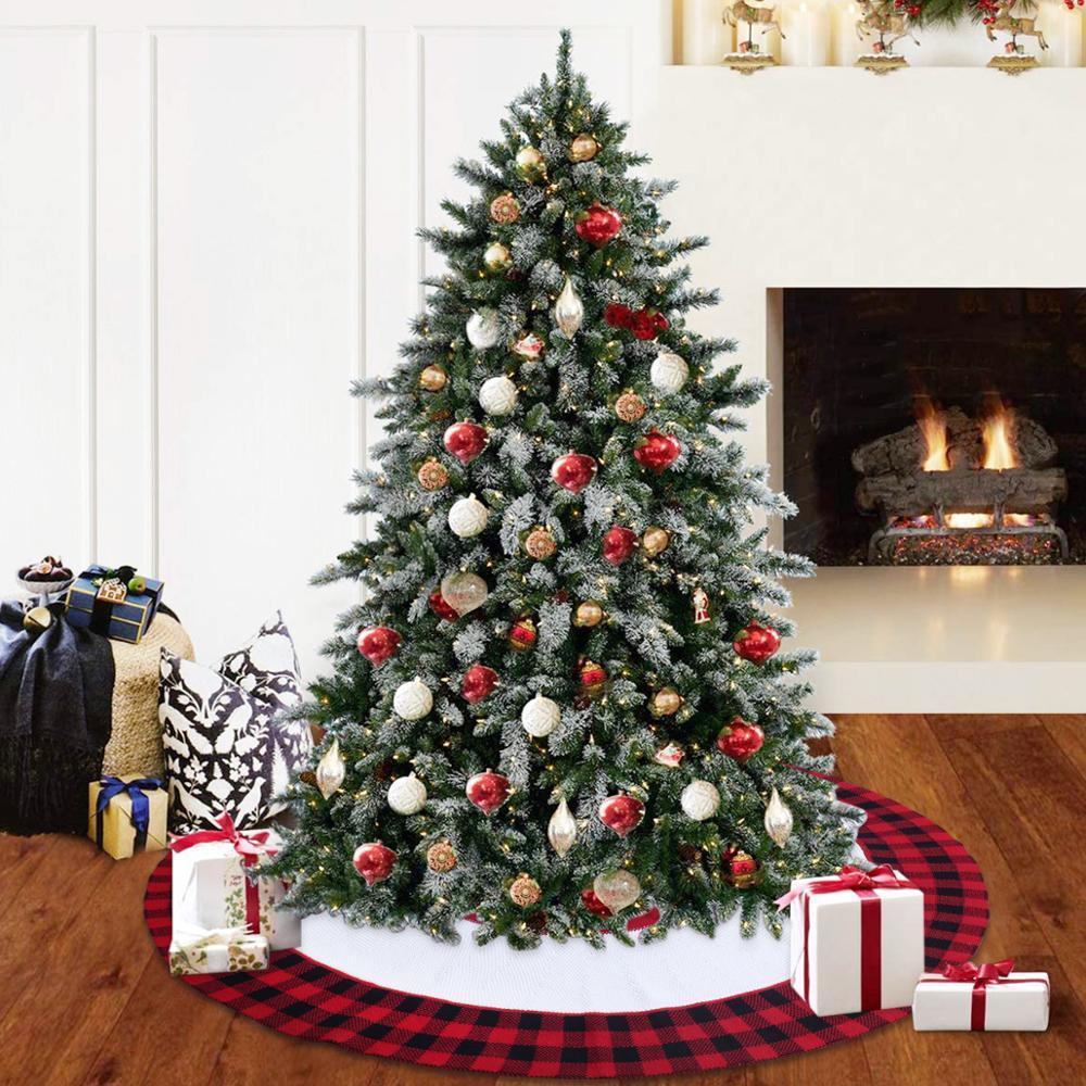 Falda de árbol de punto de Navidad Decoración de la Feliz Navidad para el hogar Falda de árbol de Navidad Decoración de árbol de Navidad Navidad 2020 Año Nuevo 2021 Z1128