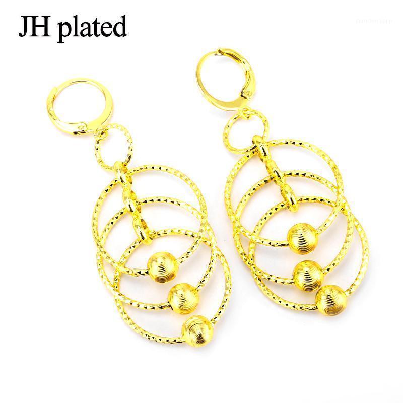 استرخى الثريا jhplated أفريقيا أقراط جولة للنساء / فتاة، 24 كيلو عرب الإثيوبي إريتريا مجوهرات أمي هدايا 1