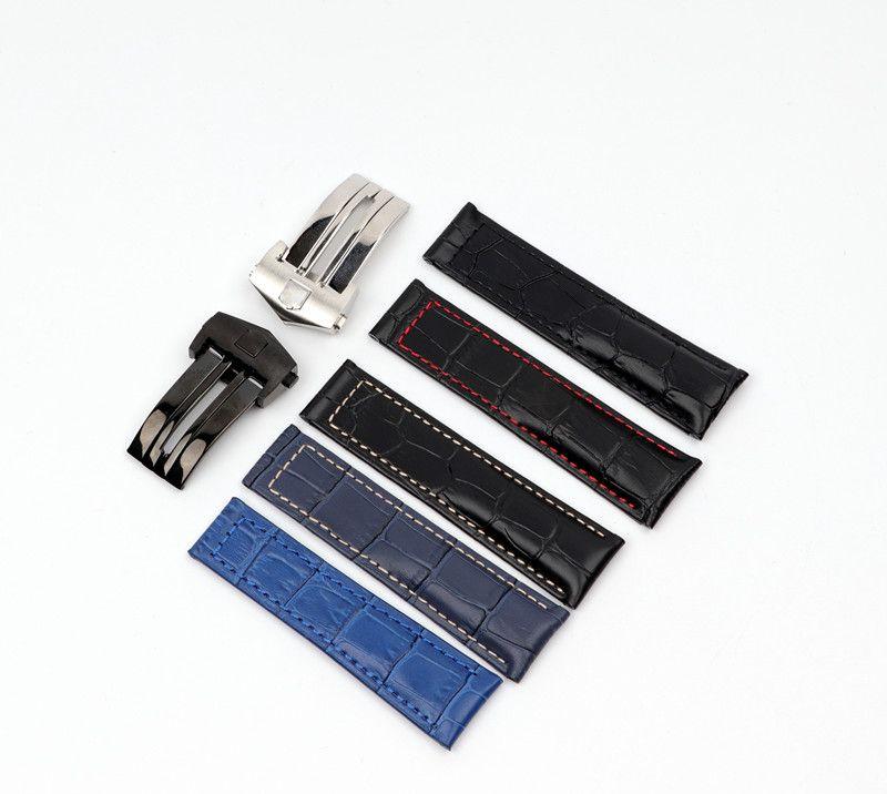 20 ملليمتر 22 ملليمتر جلد طبيعي watchband لتناسب سلسلة العلامة ووتش حزام المعصم سوار مع نشر المشبك مشبك