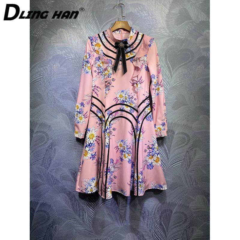 Vestidos casuales Dlinghan Fashion Crystal Bow Mini Vestido Elegante Floral Estampado Soporte Collar de manga larga DISEÑADOR