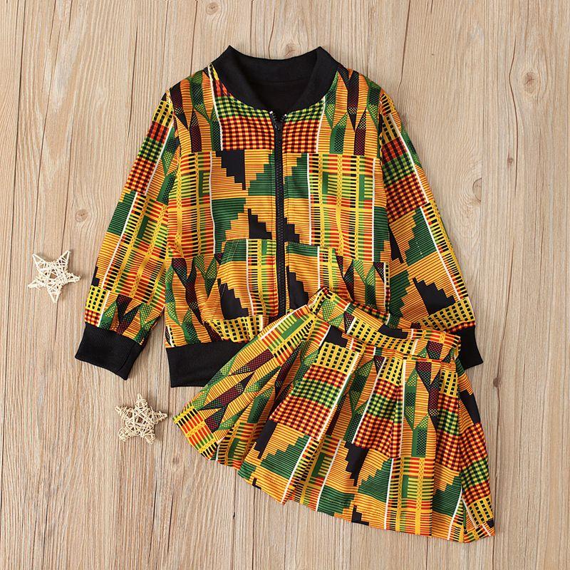 2019 niños de Navidad para niños pequeños Chaqueta de cremallera bohemia africana + falda de 2 piezas Traje para niños Moda para niños T200707