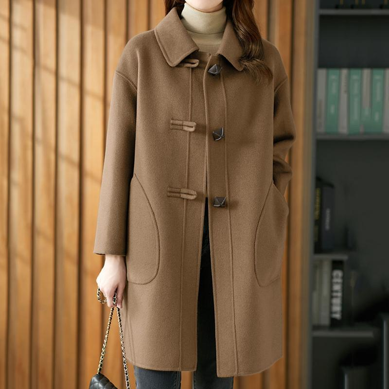 Palto Yün Ceket Kadınlar Katı Renk Yaka Yeni Moda Rahat Kadın Sıcak Giyim Kadın Uzun Düğme Kore Japon Ince Zarif