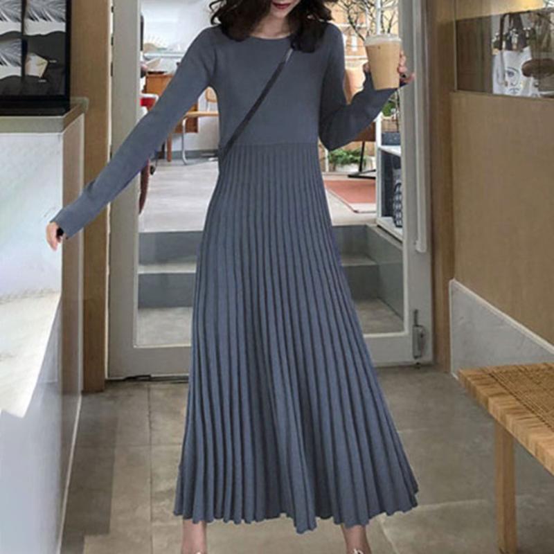 Vestidos casuales vestido de suéter de moda coreano invierno de manga larga mujer elegante cintura alta otoño damas maxi punto plisado 2021