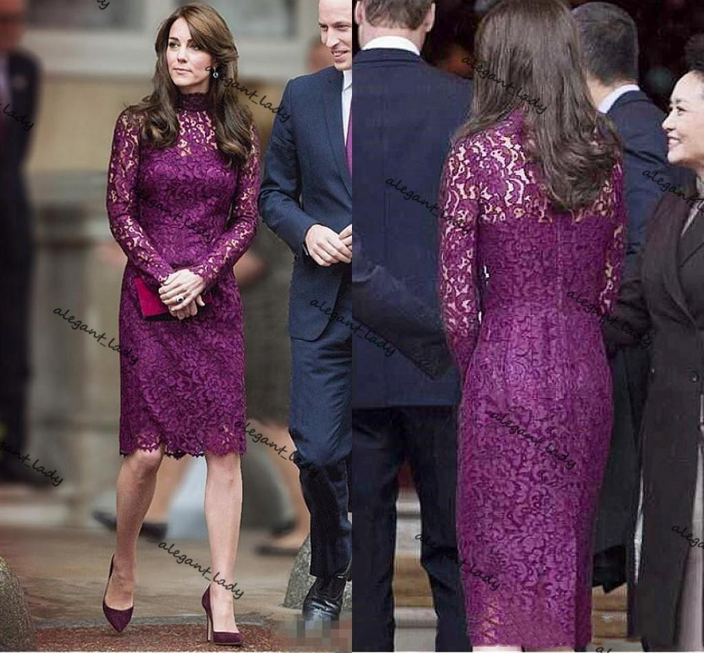 Purple Lace Knee-length Mother of The Bride Dress 2021 Long Sleeve Kate Middleton Sheath Mother Formal Evening Prom Gown Robes
