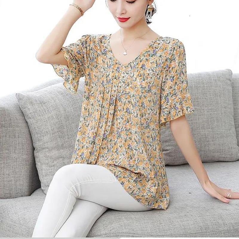 Verão Casual Camisa Mulheres Blusa Loose Plus Size O-pescoço Manga Curta Floral Blusas Camisas Blusas Top