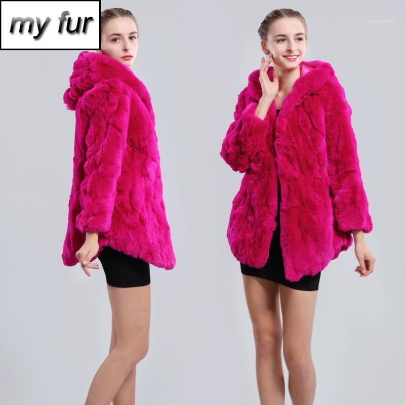 2019 New Winter Genuine Real Rex Fur Jacket Fur Hood Women Fashion Rex Coat Natural Hooded Overcoat1