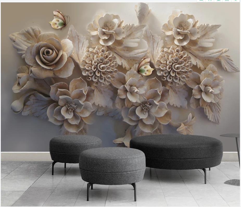 Murales de fondos de pantalla de fotos personalizados para paredes 3D moda hermoso alivio 3d flor mariposa mural TV Fondo papel papeles decoración del hogar